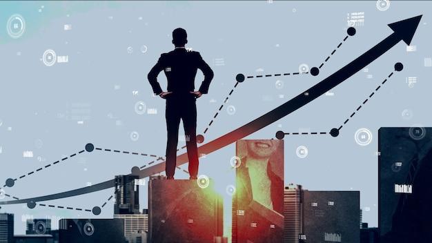Doppelbelichtung bild des geschäftsgewinnwachstums konzeptionell