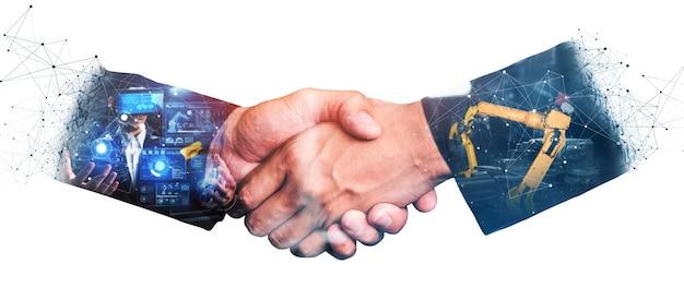 Doppelbelichtung des mechanisierten industrieroboterarms und des geschäftshandshakes
