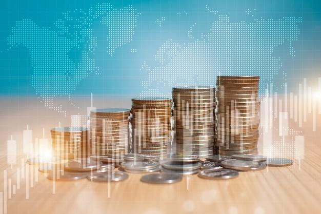 Doppelbelichtung des stapels von geldmünzen