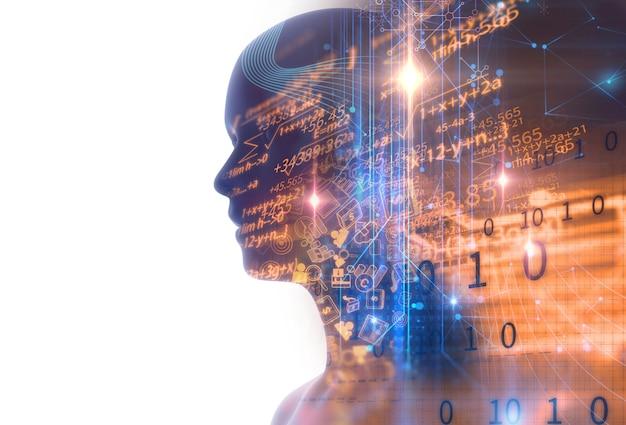Doppelbelichtungsbild der virtuellen menschlichen 3dillustration