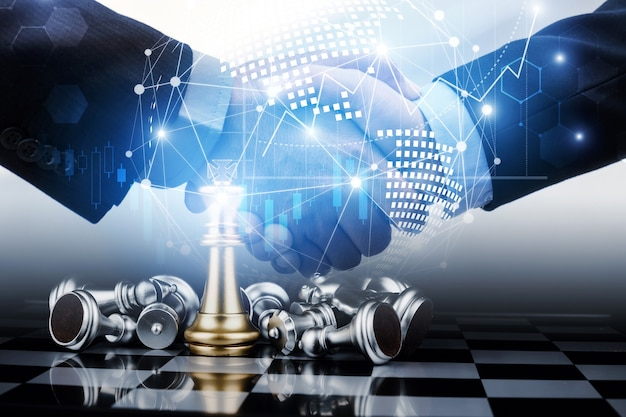 Doppelbelichtungsbild des arbeitshandshakes des geschäftsteams mit effektdiagramm und netzwerkverbindungsdiagramm mit schachbrettspielwettbewerb, planung, teamarbeit und geschäftsstrategiekonzept