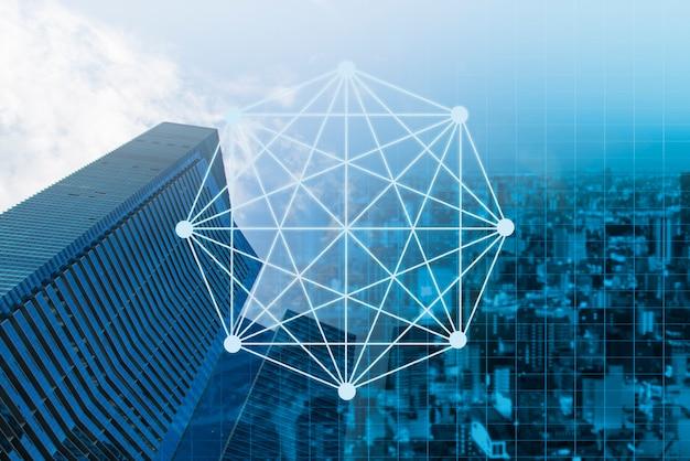 Doppelbelichtungsgeschäftsnetz auf handelsdiagramm und stadt