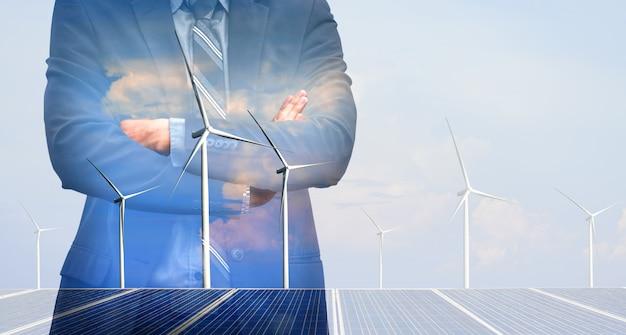 Doppelbelichtungsgrafikschnittstelle der windkraftanlage.