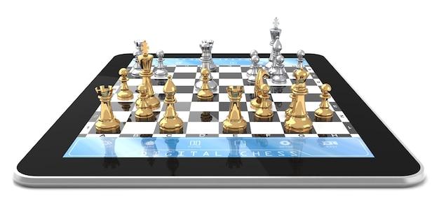 Doppelspieler-schachspiel auf digitaltablet mit dreidimensionalen schachfiguren.
