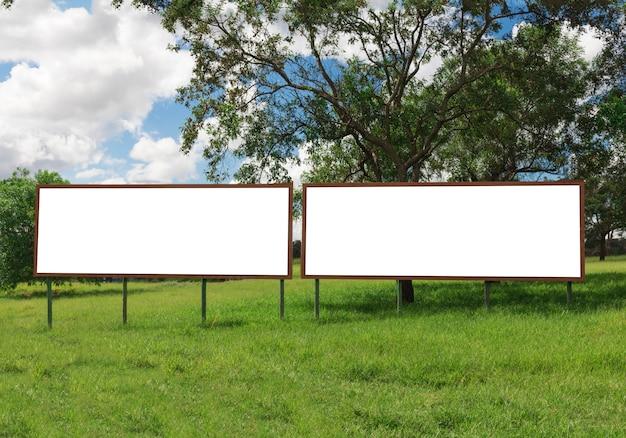 Doppelte leere anschlagtafel vor schönem bewölktem himmel in einem ländlichen standort