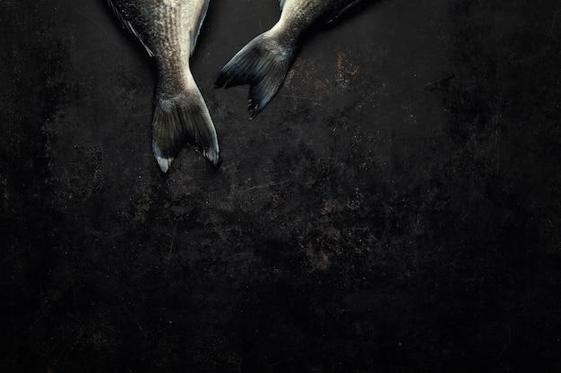 Dorado fisch mit auf dunkel