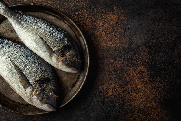 Dorado fisch mit zutaten auf dunkel