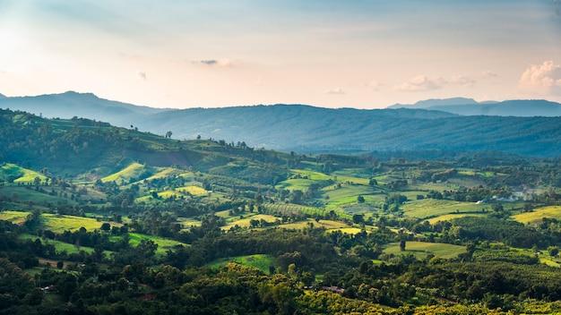 Dorflandschaft von thai in den bergen. sonniger nachmittag. wunderbare frühlingslandschaft in den bergen. wiese und sanfte hügel. ländliche landschaft