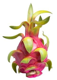 Drachenfrucht oder pitaya mit schnitt lokalisiert auf weißem hintergrund.