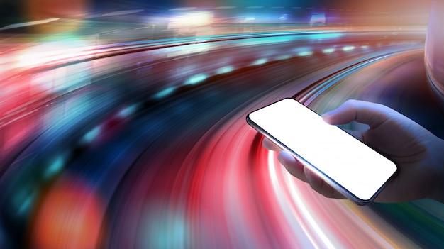 Drahtlose 5g geschwindigkeitsnetzwerksysteme und internet von sachen mit bewegungsunschärfehintergrund.