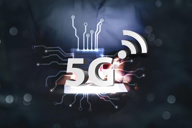 Drahtlose netzwerkgeschwindigkeitsentwicklung 5g-konzept 3d-illustration
