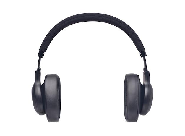 Drahtlose over-ear-kopfhörer, schwarzes leder isoliert auf weißem hintergrund mit beschneidungspfad