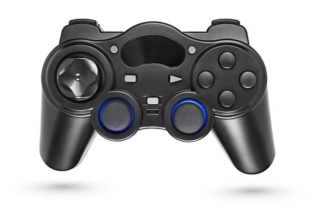 Drahtloses gamepad oder joystick aus schwarzem kunststoff isoliert auf weißem hintergrund