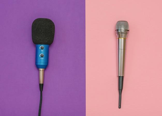 Drahtloses mikrofon und klassisches mikrofon mit kabel