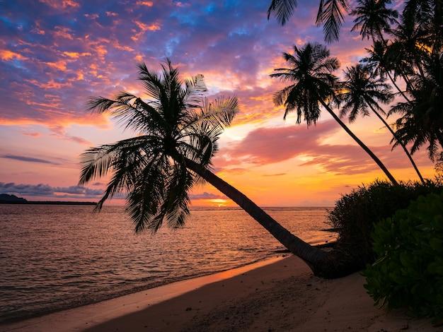 Dramatischer himmel des sonnenaufgangs auf meer, tropischer wüstenstrand, indonesien banyak islands sumatra