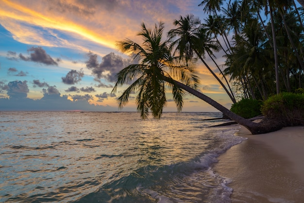 Dramatischer himmel des sonnenaufgangs auf meer, tropischer wüstenstrand, keine leute, stürmische wolken