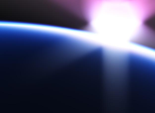 Dramatischer sonnenuntergang auf dem hintergrund der erdumlaufbahn