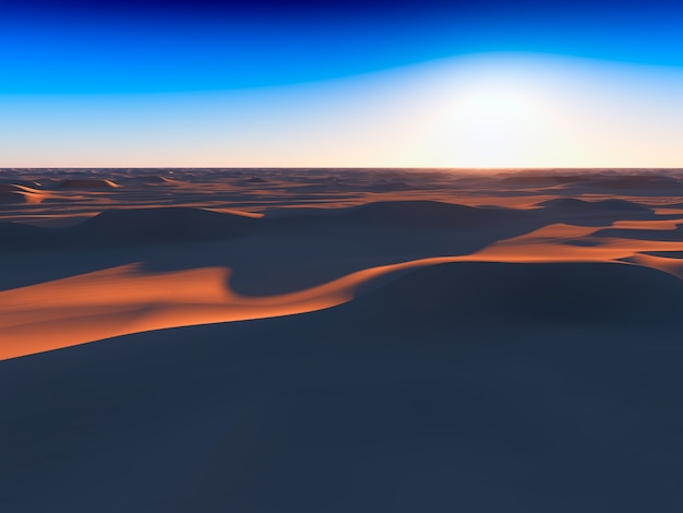 Dramatischer sonnenuntergang in der wüste 3d-rendering-design-element-hintergrund