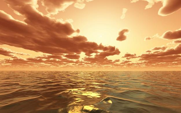 Drastischer sonnenuntergang 3d über dem ozean