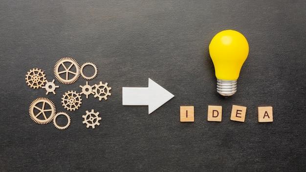 Draufsicht abstraktes innovationssortiment