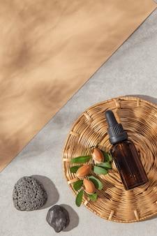 Draufsicht anordnung des arganölpflegeproduktes