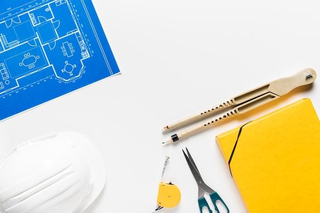 Draufsicht anordnung verschiedener architektonischer objekte