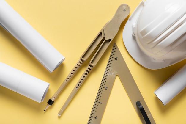 Draufsicht anordnung verschiedener architektonischer projektelemente
