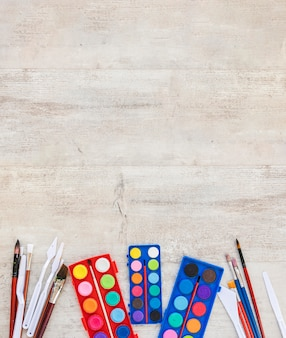 Draufsicht aquarellfarbe kopienraum