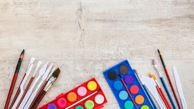 Draufsicht aquarellfarbe