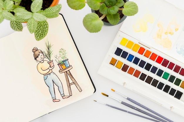 Draufsicht aquarellmalerei auf dem tisch
