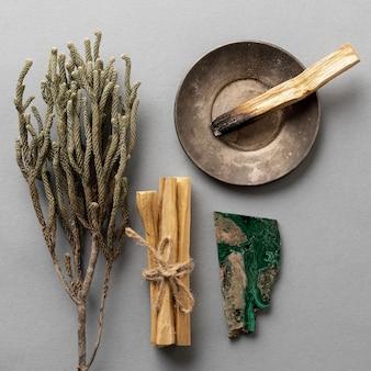 Draufsicht aromatische pflanzen und bursera graveolens