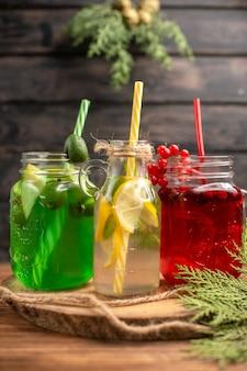 Draufsicht auf bio-früchtesäfte in flaschen, die mit röhren auf einem holzbrett serviert werden
