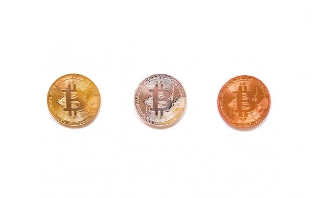 Draufsicht auf bitcoin isoliert