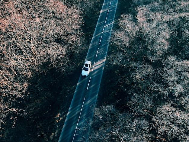 Draufsicht auf das auto, das über den autobahnkopierraum fährt