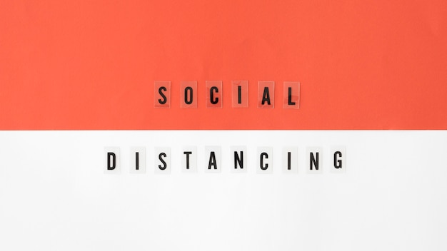 Draufsicht auf das konzept der sozialen distanzierung