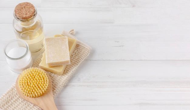 Draufsicht auf das konzept ökologischer produkte
