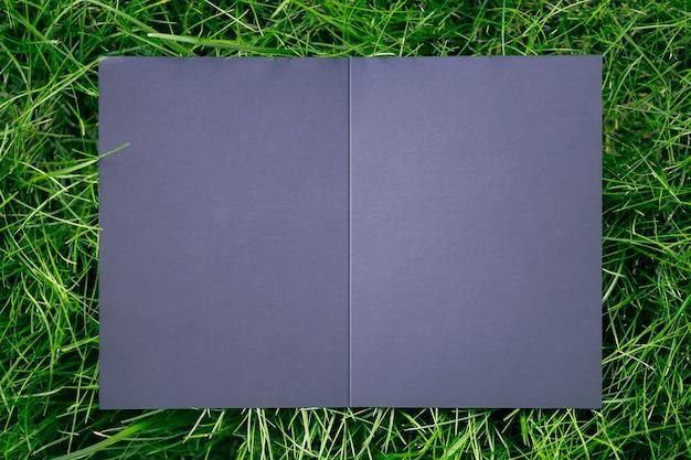 Draufsicht auf das kreative layout des quadratischen rahmens mit grünem grasrasen mit schwarzer offener postkarte und schatten fr ...