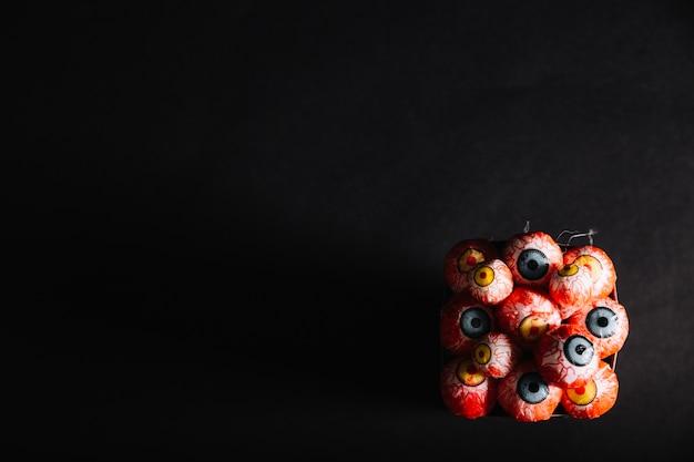 Draufsicht auf dekorative augäpfel