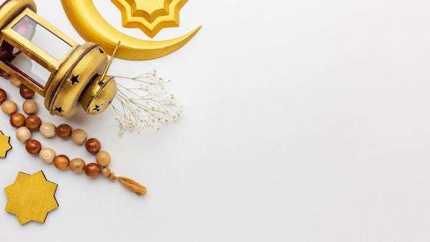 Draufsicht auf dekorative elemente des islamischen neujahrs