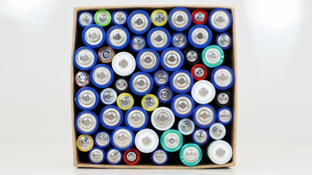 Draufsicht auf den hintergrund von aaa-aa-batterien und wiederaufladbaren batterien. auswahl an batterien. energieversorgungs- und recyclingkonzept. texturen von elektrischen elementen, die dicht beieinander in einer schachtel verpackt sind.