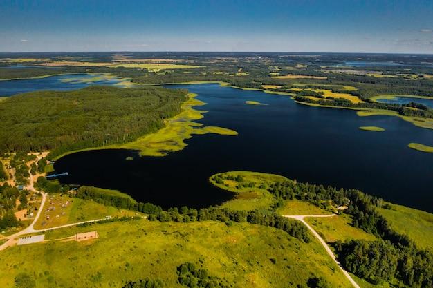Draufsicht auf die seen snudy und strusto im nationalpark braslav lakes