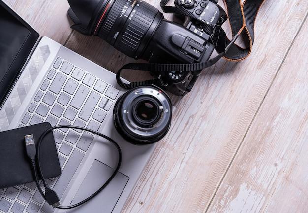 Draufsicht auf digitale fotografie