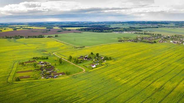 Draufsicht auf ein grünes feld und ein kleines dorf in weißrussland. landwirtschaftliche felder im dorf.