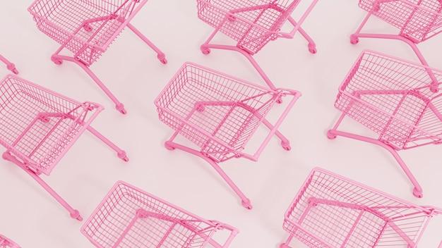 Draufsicht auf einen rosa einkaufswagen
