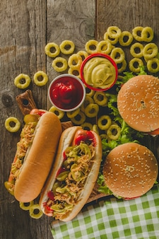 Draufsicht auf fast food