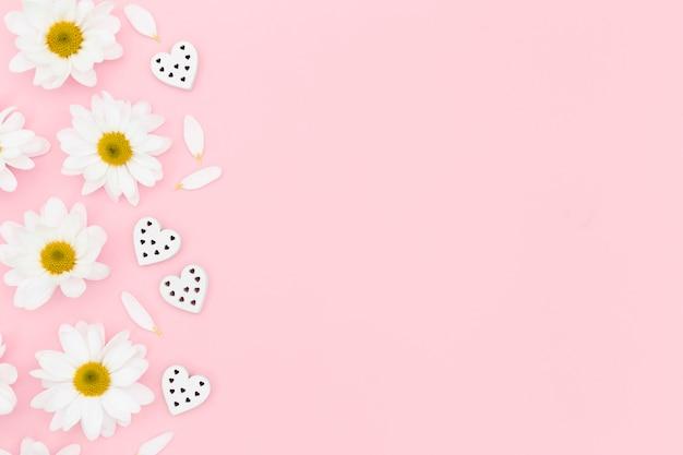Draufsicht auf gänseblümchen und herz mit kopierraum