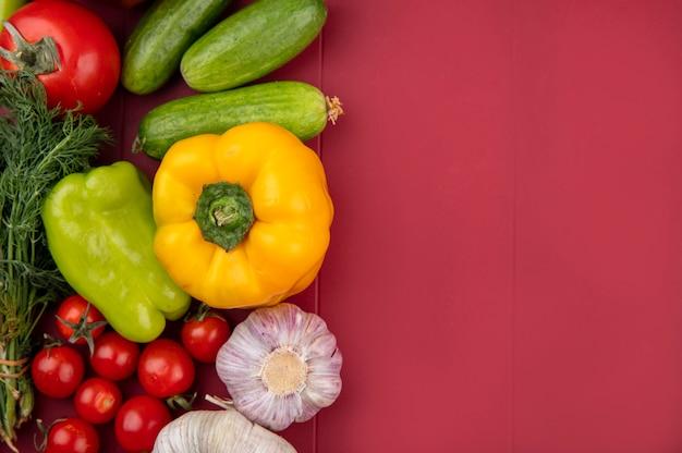 Draufsicht auf gemüse als gurkentomaten-korianderpfeffer und knoblauch auf roter oberfläche