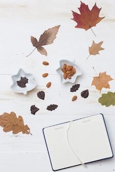 Draufsicht auf herbsthintergrund verlässt schokoladennüsse auf hölzernem weißem brett