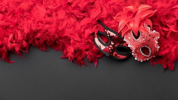 Draufsicht auf karnevalsmasken mit federn