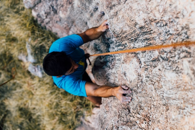 Draufsicht auf kletterer